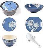 Conjunto de cubiertos de cerámica de lirio de cocina, conjunto de cena de porcelana de flor pintada a mano azul, 6 piezas Para la cocina