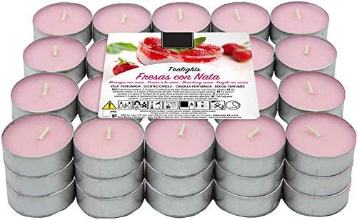 Besch Velas de té aromáticas (Fresa Con Nata, 60 Velas)