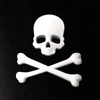 3D Metal Skull Skeleton Crossbones Car Motorcycle Sticker Truck Label Emblem Badge Car Styling Decoration Accessories - (Color Name: White)