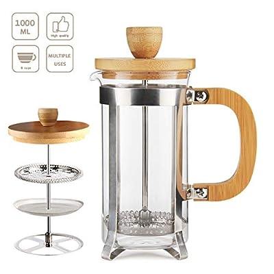 34 OZ Bamboo French Press 18/8 Stainless Steel High Borosilicate Plastic-free Carafe 1000ML Espresso Press Coffee/Tea Maker