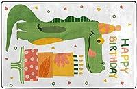 お誕生日おめでとう恐竜かわいいおかしい超ソフト屋内モダンエリアラグふわふわラグダイニングルームホームベッドルームカーペットフロアマットベビーキッズ犬猫60x39インチ-80x58インチ