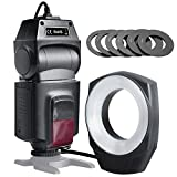 HAOXUAN Luce Ad Anello per Fotocamera, Flash Macro Ad Anello ML-150 GN10, con 6 Anelli Adattatori per Obiettivi, Adatto per Fotocamere SLR Canon Nikon Pentax Olympus