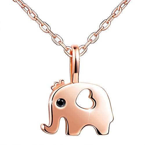 Infinito U Colgante Elefante Corazón para Mujer Niña Collar de Plata 925 Cadena Ajustable Color de Oro Rosa Idea Regalo Navidad