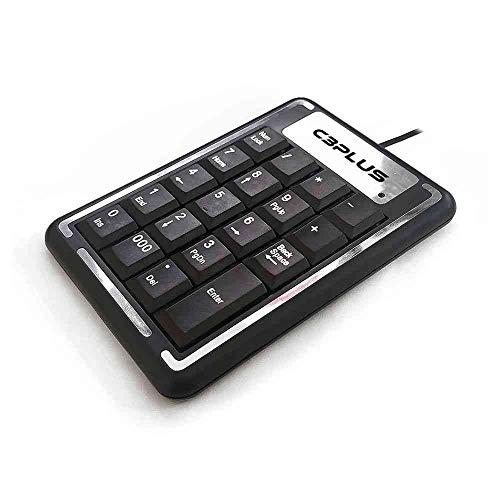 Teclado Numérico C3Plus USB KN-11BK Preto - Plug and Play Membrana Compatível com PC/AT e Linux