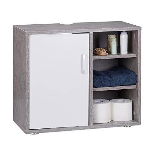 Relaxdays Waschbeckenunterschrank, eintürig, Badschrank, Aussparung, 3 Ablagen, Unterstellschrank 51x60x32cm, Betonoptik, MDF, grau, Standard