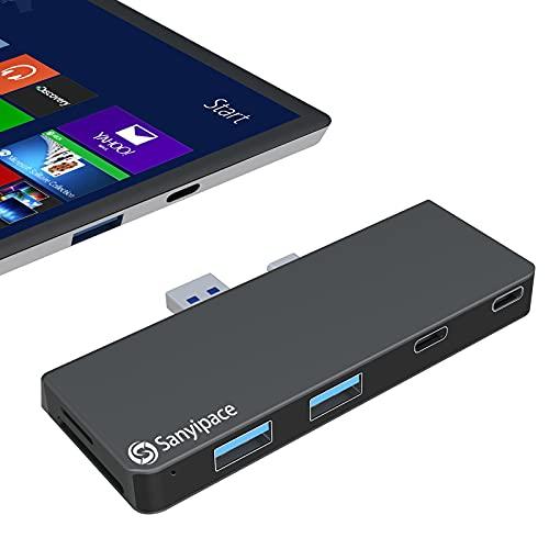 Docking Station für Surface Pro 7/7+, USB C Docking USB C zu USB3.0 Adapter, Ausgestattet mit 2 USB C, 2 USB3.0 (5 Gb/s schnelle übertragung) und SD / Micro SD Kartenleser Port, Surface Pro 7/7+ Hub