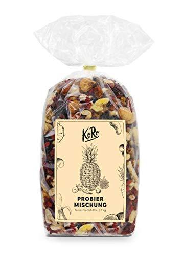 KoRo - Mélange découverte KoRo | 1 kg - Mélange de cranberries, mûres, chips de banane, noix de cajou, baies de goji, groseilles du Cap bio et cubes d'açaï