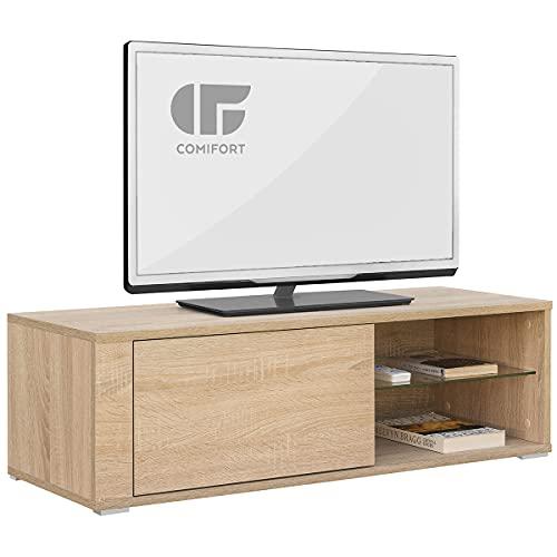 COMIFORT Mueble de TV - Mesa de Salón Moderno, Puerta con Sistema Click, Estante de Cristal Templado, Muy Resistente, Fabricado en Europa, Color Roble 🔥