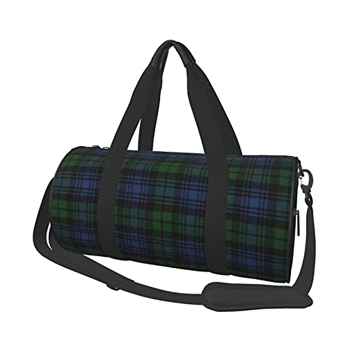 Bolsa de deporte multifunción para gimnasio, unisex, bolsa de lona para llevar al hombro de gran capacidad, para viajes, reloj negro, diseño de tartán