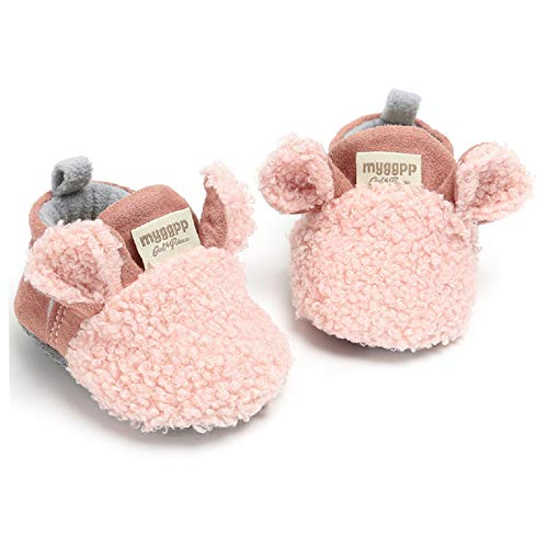 RVROVIC Baby Boys Girls Cozy Fleece Booties with Non Skid Bottom Warm Winter Socks (0-6 Months Infant, A-Pink)
