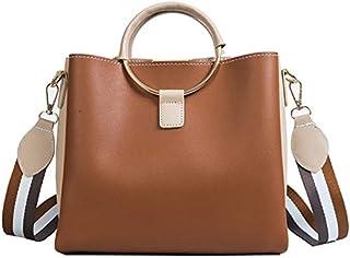 TOOGOO Large-Capacity Luxury Ladies Handbag Wide Shoulder Strap Bag Patchwork Ring Handle Ladies Cross-Body Bag Black