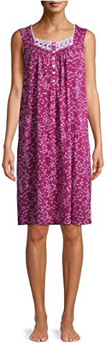 Secret Treasures Floral Print Berry Bright Sleeveless Gown Nightgown - Large