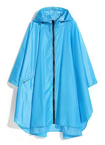 YUHANG Chubasquero para mujer, impermeable, poncho, reutilizable, ligero, para adultos, con capucha, actividades al aire libre, ropa de lluvia para senderismo (XL, azul)