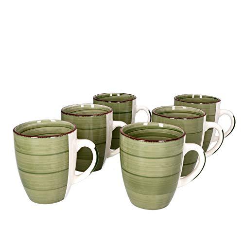 MamboCat Waldi 6-er Kaffee-Becher-Set Weihnachten Grün I Steingut-Tasse groß mit Strudel-Dekor - in tollem Grünton I große Jumbo-Tee-Tasse - Tea & Coffee Mug I 300 ml Kaffee-Tassen-Set groß 6 Stück