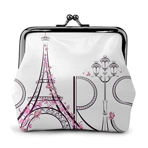 Turm Eiffel mit Paris Paar Trip Blumen Blumen Pu Leder Exquisite Schnalle Münze Geldbörsen Vintage Pouch Classic Loc