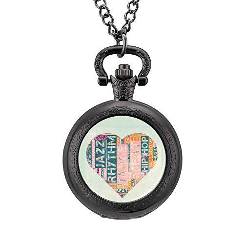 Klassieke Pocket Horloge Multi kleuren Woorden Make Up Liefde 1 # Ketting Hanger voor Mannen/Vrouwen Vintage Analoge Quartz Pocket Horloge Arabische Numerals Retro Ornate horloge, Geschenk voor Vader en Vriendje Aangepaste Gepersonaliseerde Sieraden, Eén maat, Patroon 3