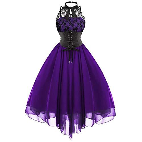 Hopoter Damen Kleider Gothic Kleid 50s Renaissance Maxikleid Cosplay Dress Armellos Einfarbig Kleider Chiffon Fancy Dress Mittelalter Retro Kleidung Party Festlich Karneval Kostüm