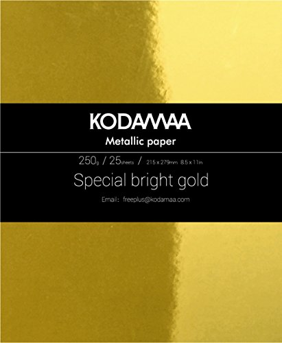 KODAMAA Premium Shimmer Art Craft Gold/Silver Metallic Paper, Multipurpose Cardstock Perfect for Festival Crafting, Gift Packaging (25 Sheets)