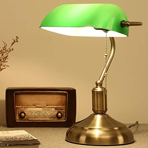 Muenm Tischlampe American Retro Schlafzimmer Nachtlicht mit Zugschalter Studie Schreibtisch Arbeits...
