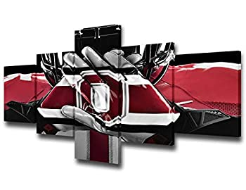 TUMOVO Native American Decor Paintings Scarlet and Gray Pictures 5 Piece Canvas Wall Art Modern Artwork Home Decor for Living Room Framed Stretched Ready to Hang 50  Wx24  H