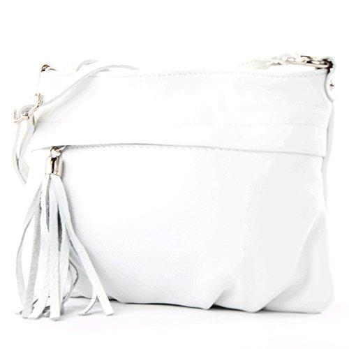 modamoda de - T32 - ital Umhängetasche Klein aus Nappaleder, Farbe:Weiß