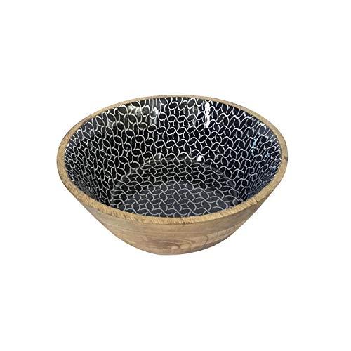 casamia Müslischale Dipschale Deko Schale ø 12 cm Mangoholz mit Keramikdekor lebensmittelgeeignet Farbe schwarz/weiß