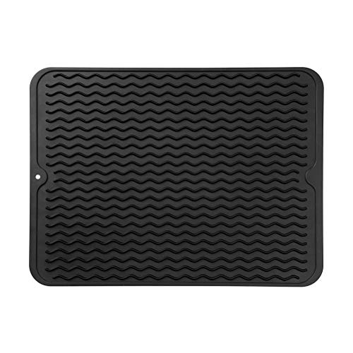 MicoYang Silicone Dish Drying Mat for Multiple Usage,Easy Clean,Eco-friendly,Heat-resistant Silicone Mat for Kitchen Counter or Sink,Refrigerator or Drawer Liner Black L 16 inches x 12 inches