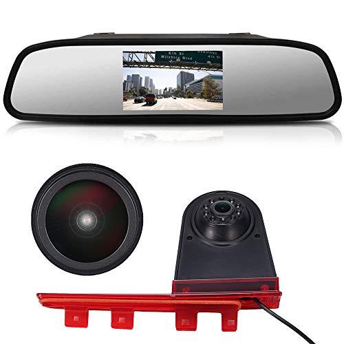 HD IP68 1280pixeles 1000 TV líneas Transporter Nocturna IR Luz Freno Cámara de Marcha Atrás Visión Trasera Coche Puede Ajustar el ángulo para T5 Multivan T6 Caravelle Transporter MPV+Espejo Re