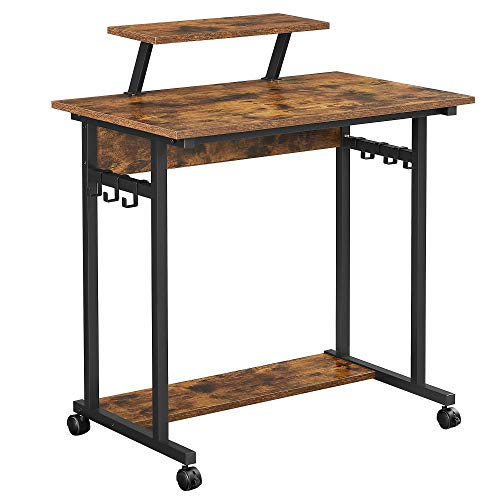 VASAGLE Schreibtisch, Computertisch mit Rollen, mit Monitoraufsatz, 6 Haken, 80 x 50 x 90 cm, Industrie-Design, vintagebraun-schwarz LWD085B01