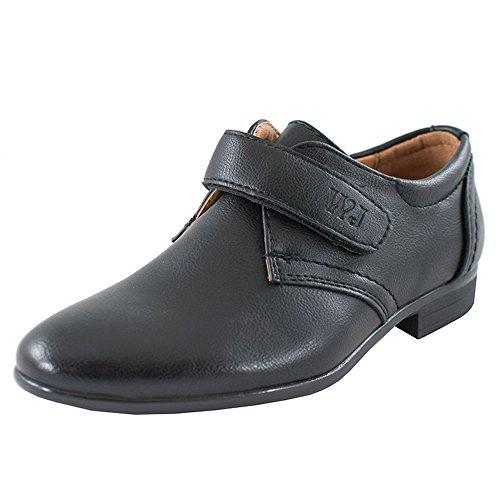 Eleganter Festliche Kommunionschuhe Pumps Schuhe mit Klettverschluss Jungen (1387w) (29 EU / 20cm)