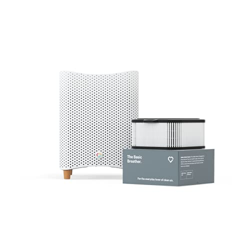 Mila HEPA Air Purifier Filters Smoke, Allergens, Viruses, Dust, Mold, Pollution, Pet Dander — 447 CADR, 1,000 sq ft Coverage, 12'x12'x15', White, Basic Breather Filter