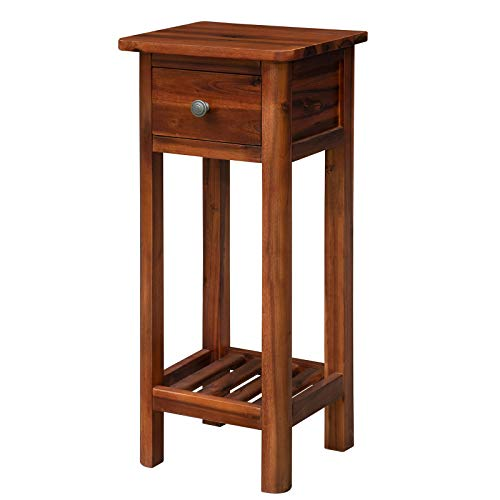 Tangkula Farmhouse Sofa Side End Table, Acacia Wood 2-Tier Slim Side Table w/Storage Shelf and Drawer, No Assembly Required, Narrow Nightstand for Small Spaces, Living Room (1, Rustic Brown)