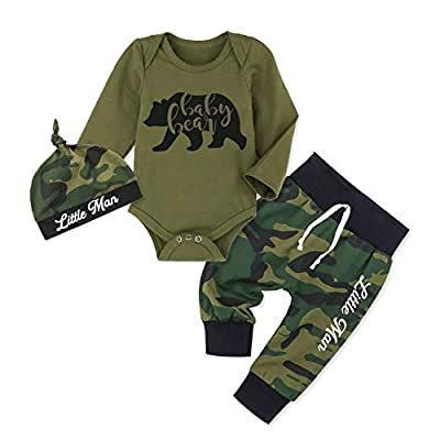 Newborn Baby Boy Clothes Bear Letter Print Romper+Long Pants+Hat 3PCS Outfits Set Camouflage 0-3 Months