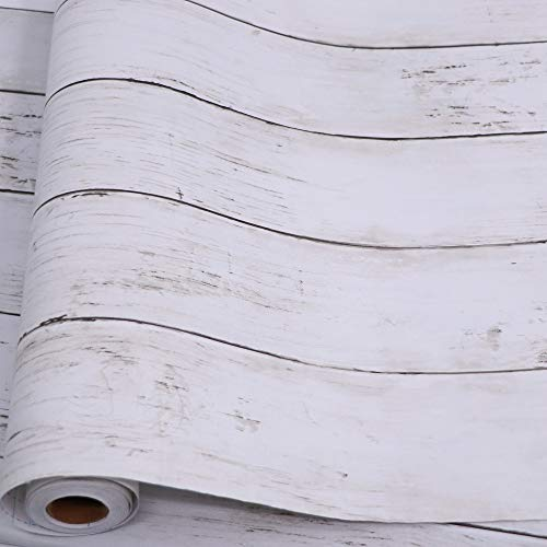 professional Self-adhesive white and gray wood grain 17.71 inches x 32.8 feet removable wooden shell and glue wallpaper …