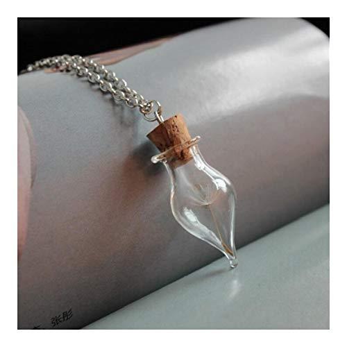 YUNGYE Hombres Mujeres Simple Vidrio Claro Colgante, Collar en Forma de corazón Botella de Cristal de la semilla del Diente de Deseos Drift Botella de Plata Cadena del Collar (Metal Color : Style 4)