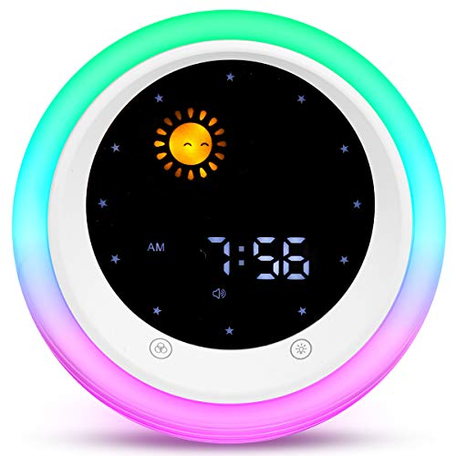 I·CODE Time to Wake Alarm Clock for Kids, Children's Sleep Trainer, Kids Wake Up Light, Sleep Sound Machine