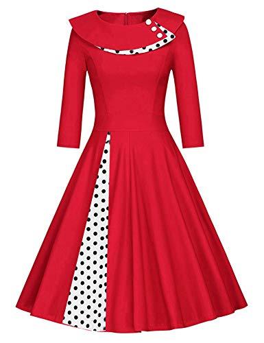 JIER Damen 50er Jahre Vintage Langarm KleidRockabilly Kleid Knielang Festlich Kleid Faltenrock mit Gepunkt Elegant A-Linie Petticoat Kleid Cocktailkleid (Rot,Medium)