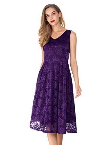 Noctflos Lace V Neck Fit & Flare Midi Cocktail Dress for Women Party Wedding Purple