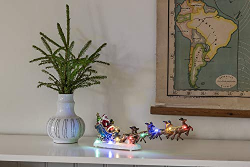 Konstsmide Christmas Lights Santa in Sleigh with Reindeer Christmas Ornament Decoration/Battery Operated: 3xAAA (Excl.)/Christmas Scene Multi Coloured Diodes
