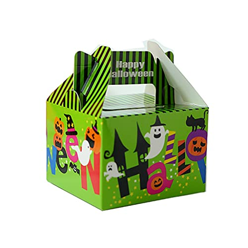 XIXILI Paper Handy Bags, New Halloween Cute Pumpkin Ghost Element Candy Box Chocolate Snacks Cookies Storage Box Home Table Party Ornament Gifts