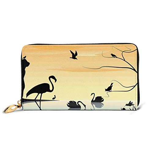 Women's Long Leather Card Holder Purse Zipper Buckle Elegant Clutch Wallet, Early Morning by The Sea Sunrise Scenery with Exotic Animals,Sleek and Slim Travel Purse