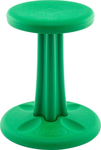 Kore Wobble Chair - Flexible Seating Stool for Classroom, Elementary School, ADD/ADHD - Made in USA - Junior- Age 8-9, Grade 3-4, Green (16in)