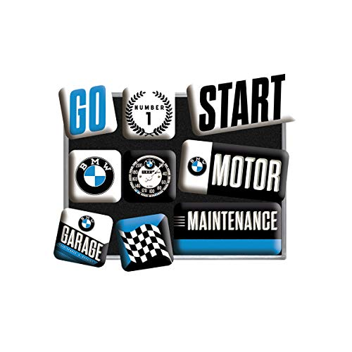 Nostalgic-Art Juego de Imanes Retro BMW Motor – Regalo para los Fans de los Coches, Decoración para la Nevera, Diseño Vintage, 9 Unidades