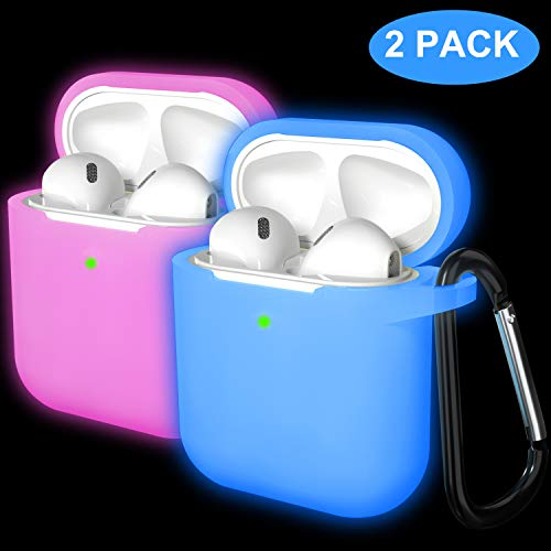 Laffav Airpods Case Cover Protective Silicone Case Skin with Anti-Lost Carabiner (Front LED Visible) for Women Men Compatible with Apple AirPods 2 and 1, 2 Pack, Nightglow Blue, Nightglow Pink