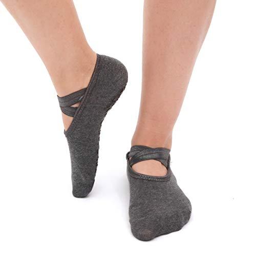 Leyeet 1 Paar / 3 Paare Frauen Yoga Socken Anti-Slip Gym Fitness Pilates Ballett Tanz Sportsocken Rutschfeste (Color : Grey)