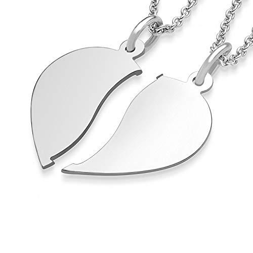 Liebesketten Freundschaftsketten Partnerketten Silber 925 Gravur Herzkette für Paare zwei Teile Love Kette teilbar Pärchen halb Hälfte trennbare zerbrochen zweiteilig doppelt zum Teilen FF76SS92545