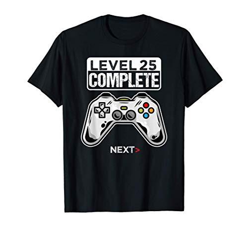 25 Anni Compleanno regalo videogiochi level 25 complete Maglietta