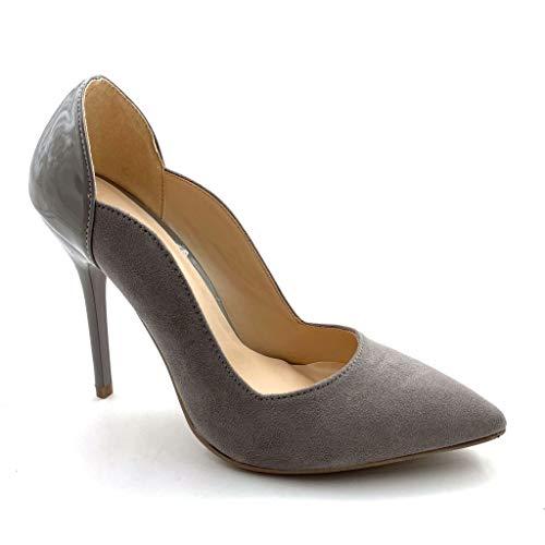 Angkorly - Chaussure Mode Escarpin bi-matière Stiletto Femme Verni Daim Talon Haut Aiguille 11 CM - Gris - J76-1 T 39