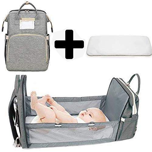 Multifunctional Baby Travel Cot,Portable Diaper Changing Station Mummy Bag Backpack,Foldable Baby Cot Bed, Portable Bassinets For Baby,Travel Crib Infant Sleeper,Baby Nest With Mattress (0-12 Months)
