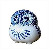 ZAAQ Blue and White Porcelain Owl Figurine OrnamentHome Decorative OrnamentsChinese Classical Style Ceramic Craft 1 Pc
